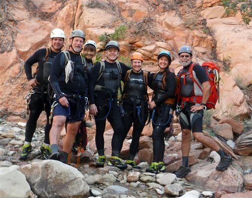 This photo released by National Park Service shows from left to right: Gary Favela, Don Teichner, Muku Reynolds, Steve Arthur, Linda Arthur, Robin Brum, and Mark MacKenzie.  The hikers, six from California and one from Nevada, died when fast-moving floodwaters rushed through a narrow park canyon Monday, Sept. 14, 2015.  (National Park Service via AP)
